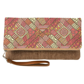 Red abstract tribal aztec pattern clutch