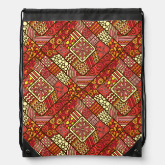 Red abstract tribal aztec pattern drawstring bag
