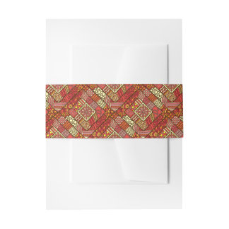 Red abstract tribal aztec pattern invitation belly band