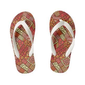 Red abstract tribal aztec pattern kid's flip flops