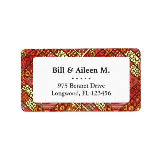 Red abstract tribal aztec pattern label
