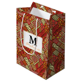 Red abstract tribal aztec pattern medium gift bag