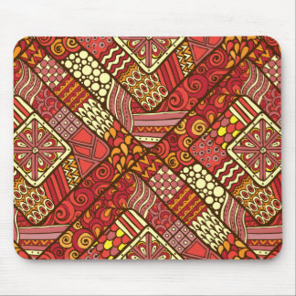 Red abstract tribal aztec pattern mouse pad