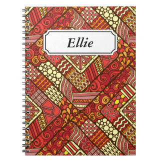 Red abstract tribal aztec pattern notebook