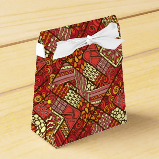 Red abstract tribal aztec pattern party favor boxes
