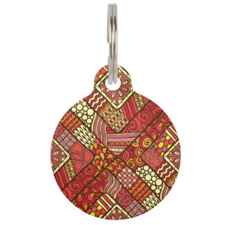Red abstract tribal aztec pattern pet name tag