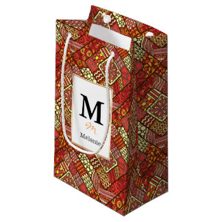 Red abstract tribal aztec pattern small gift bag