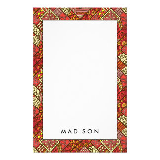 Red abstract tribal aztec pattern stationery