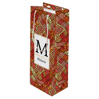 Red abstract tribal aztec pattern wine gift bag