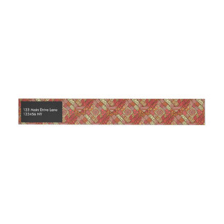 Red abstract tribal aztec pattern wraparound address label