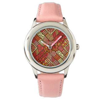 Red abstract tribal aztec pattern wrist watches