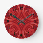 Red abstract wood pattern round clock