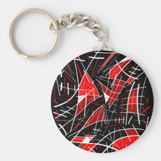 Red abstraction basic round button keychain