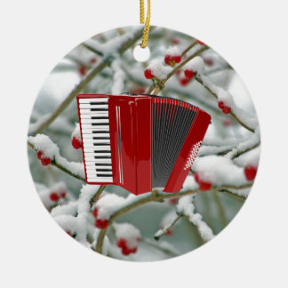 Red Accordion - Berries in the Snow Background Round Ceramic Ornament