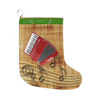 Red accordion, black notes, gold background large christmas stocking
