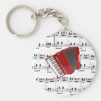 Red Accordion - Let's Polka Basic Round Button Keychain