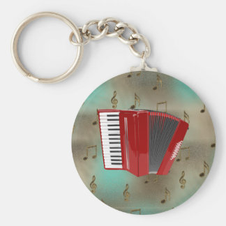 Red Accordion on Musical Notes Keychain