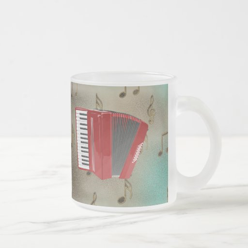 Red Accordion on Musical Notes Mug