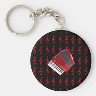 Red Accordion on Red Treble Clef Black Background Keychain