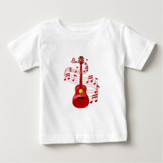 Red Acoustic Guitar With Music Notes Baby T-Shirt