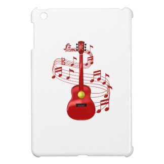 Red Acoustic Guitar With Music Notes Case For The iPad Mini