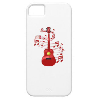 Red Acoustic Guitar With Music Notes iPhone 5 Case
