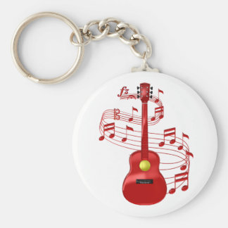 Red Acoustic Guitar With Music Notes Keychain