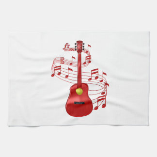Red Acoustic Guitar With Music Notes Kitchen Towel