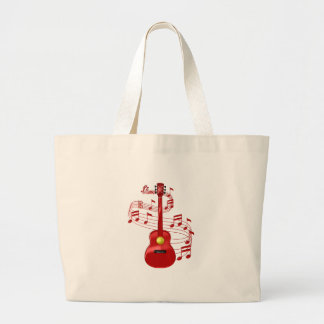 Red Acoustic Guitar With Music Notes Large Tote Bag