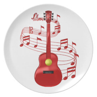 Red Acoustic Guitar With Music Notes Plate