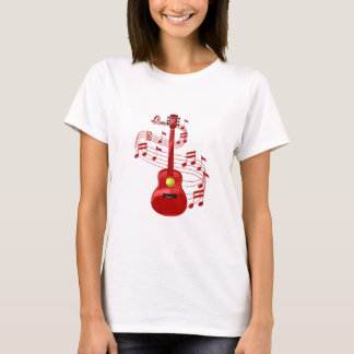Red Acoustic Guitar With Music Notes T-Shirt