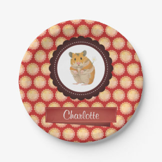 Red Add Your Name Hamster Paper Plate