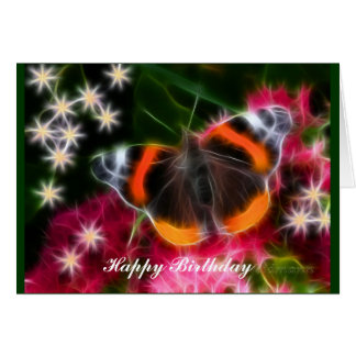 Red Admiral Butterfly Fractal Card