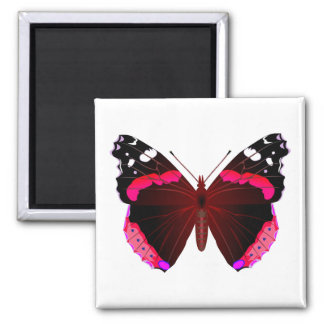 Red admiral butterfly square magnet