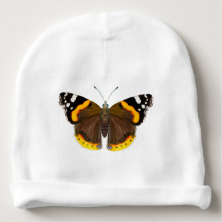 Red Admiral Butterfly Watercolor Painting Artwork Baby Beanie