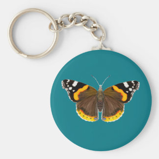 Red Admiral Butterfly Watercolor Painting Artwork Basic Round Button Keychain
