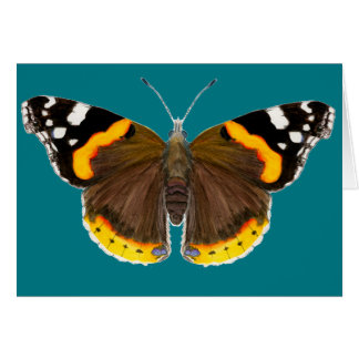 Red Admiral Butterfly Watercolor Painting Artwork Card