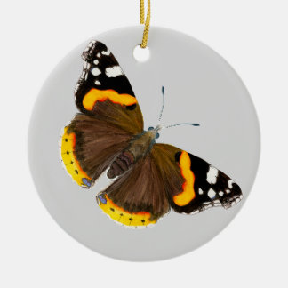 Red Admiral Butterfly Watercolor Painting Artwork Ceramic Ornament
