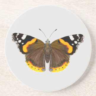 Red Admiral Butterfly Watercolor Painting Artwork Coaster