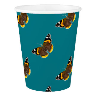 Red Admiral Butterfly Watercolor Painting Artwork Paper Cup