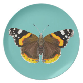 Red Admiral Butterfly Watercolor Painting Artwork Plate