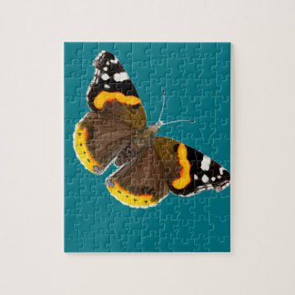 Red Admiral Butterfly Watercolor Painting Artwork Puzzles