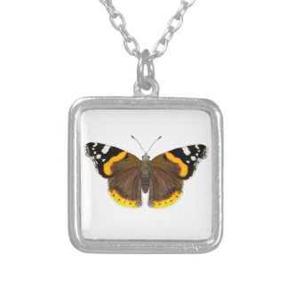 Red Admiral Butterfly Watercolor Painting Artwork Silver Plated Necklace