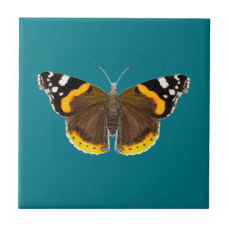 Red Admiral Butterfly Watercolor Painting Artwork Tile
