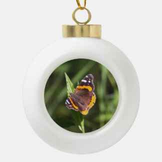 Red Admiral Ceramic Ball Christmas Ornament