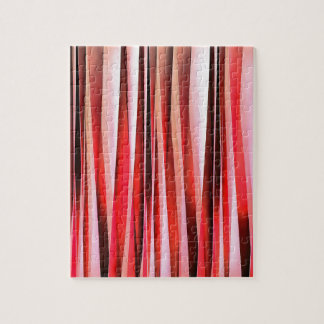Red Adventure Striped Abstract Pattern Jigsaw Puzzle