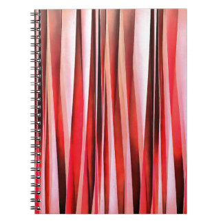 Red Adventure Striped Abstract Pattern Spiral Notebook