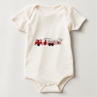 Red Aerial Scope Custom Fire Truck Design Baby Bodysuit