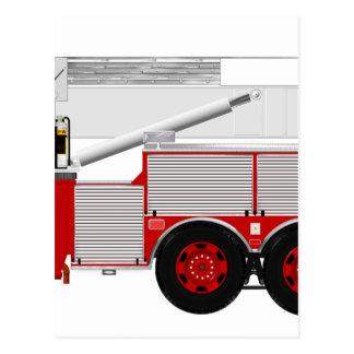 Red Aerial Scope Custom Fire Truck Design Postcard