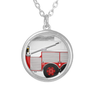 Red Aerial Scope Custom Fire Truck Design Silver Plated Necklace